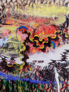 Merion Estes, Undercurrents, 2003. Fabric collage, acrylic paint on printed fabric, 54 x 72 inches, Courtesy of the artist. Photo: Matt Kazmer.