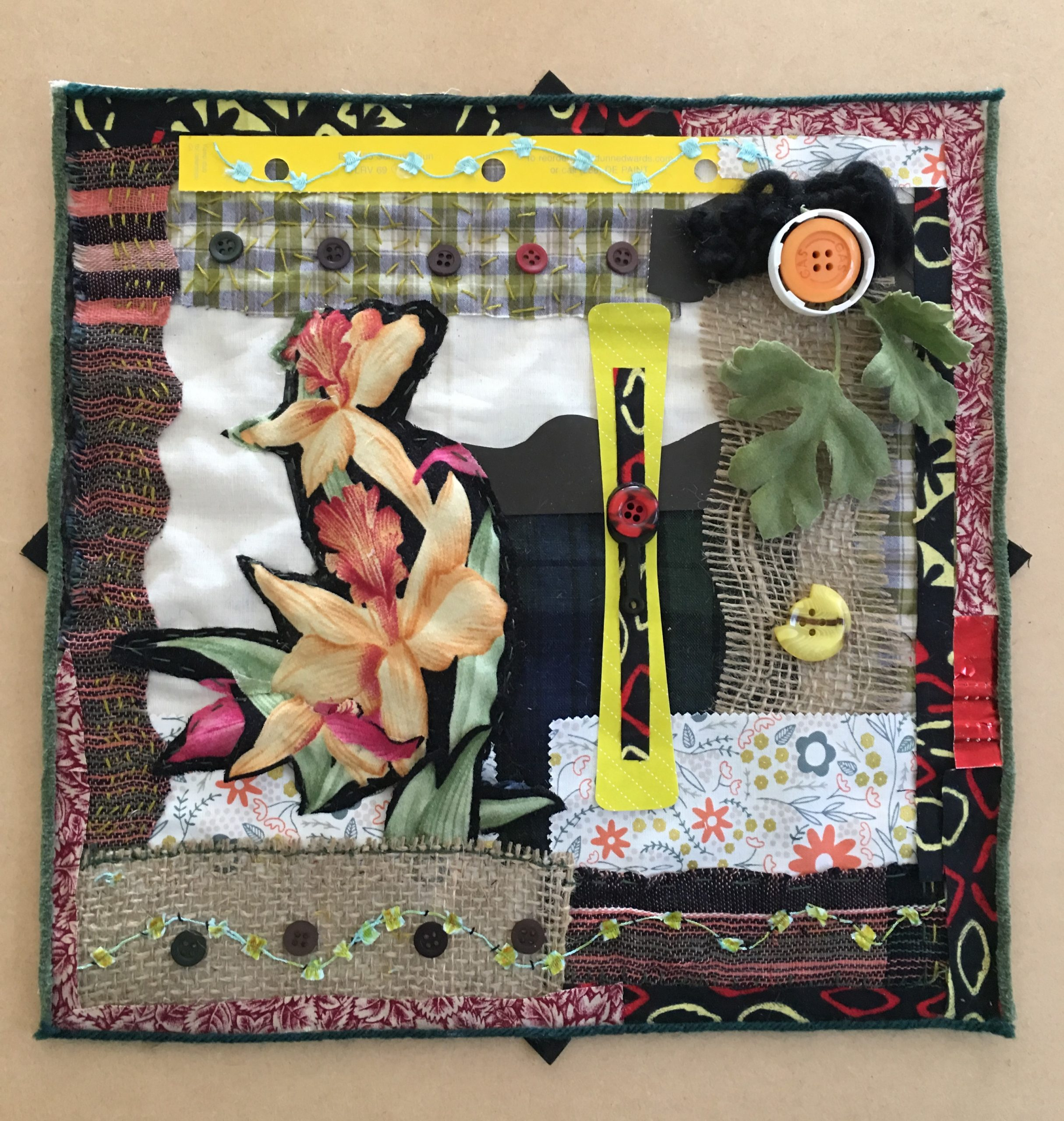 Orchid Fabric Collage, Fabric and items from workshop participants, Craft Contemporary